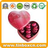 Estaño chino del corazón del regalo del rectángulo de almacenaje del metal de la fábrica para los contactos