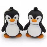 動物のペンギンの形USB2.0のフラッシュは運転する漫画PVCメモリ棒の親指16GB (黒)を