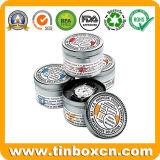Caixa de prata redonda feita sob encomenda do estanho do relógio para a caixa de presente do metal