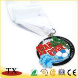 リボンが付いているカスタマイズされた金属によって浮彫りにされるロゴメダルが付いているチャーミングなメダル