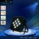 LED는 동위 가벼운 10W 9PCS LED 동위 RGBWA 5in1 편평한 건전지 Uplight를 땋는다