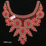 collare rosso del merletto del vestito da banchetto dell'occhiello di 27*27cm con il grande reticolo Hme958 della filiale e del fiore