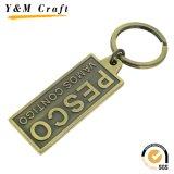 Chaîne principale de promotion de la Chine de souvenir de logo en métal fait sur commande de cadeau avec le placage en laiton antique
