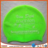 カスタムフットボールのロゴのシリコーンの水泳の帽子