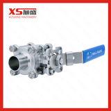 Aço inoxidável SS316L medidas sanitárias de soldar três peças da válvula de esfera