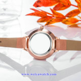 Señora Quartz Wist Watch, relojes de señoras (WY-17028B) de la correa de cuero del OEM