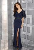 Платье вечера сини военно-морского флота Mermaid повелительниц короткой стороны втулки Split