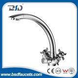 Faucet 3-Way da cozinha do punho dobro para o RO e água quente/fria