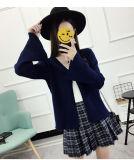 Hermoso Lotus Leaf mangas sueltas informal suéter de manga larga bata chaqueta