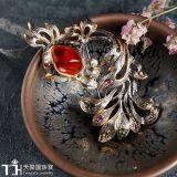925 de echte Zilveren Tegenhanger van de Broche van de Steen van het Patroon van Vissen Opalen Zilveren