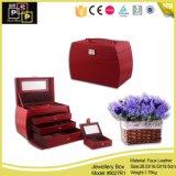 Pacote de armazenamento rosa do Gabinete de jóias em couro PU (8027)