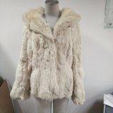 Frauen-Mantel-Wolle-mit Kapuze Pelz-Muffen-Pelz-Frauen-Mantel