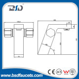Двойник регулирует квадратные латунные смесители Faucet тазика запитка крома ванной комнаты