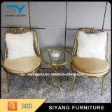 金の革が付いているホテルの家具の金の金属の椅子