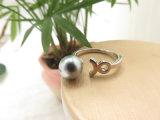 Mayorista mezclado abrir ajustable gris perla dedo el anillo de bisutería