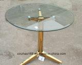 円形のガラスコーヒーテーブルの金ページ枠テーブル
