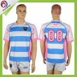 Hot vender sublimación Custom 100% poliéster Camiseta de Rugby de la escuela para la formación