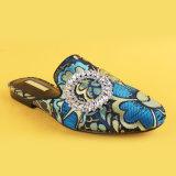 Lady bleu Talon bas pantoufles occasionnel pour les femmes avec boucle de ceinture