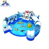 Ледяной мир надувные снег слайд с огромным бассейном надувные водный парк для людей всех возрастов