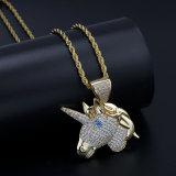 Collier or Bijoux pour hommes, Hip Hop Unicorn Collier Pendentif, Micro paver CZ pendentif, Fashion Necklace