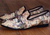 Loafers Brown карты напечатали тапочку бархата вышивки вечера подгонянную тапочкой