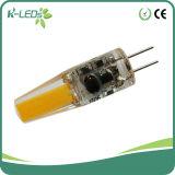 1.5W AC / DC 12V G4 LED enciende la bombilla Lámparas COB blanco cálido G4 Base bombillas LED no regulables