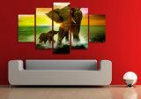HD afgedrukt het Schilderen van de Familie van de Olifant Canvas mc-082 van het Beeld van de Affiche van het Af:drukken van het Decor van de Zaal van het Af:drukken van het Canvas