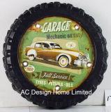 """Décoration Vintage Antique Emboss """" lavage de voitures"""" de la conception de roue du châssis en métal et plastique décor mural W/VOYANT LED"""