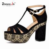 Zapatos de las sandalias de los altos talones de las mujeres de señora Casual Microfiber Weave Platform