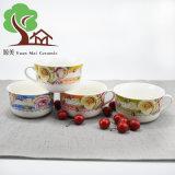 Tazón de fuente de sopa recién nacido de 2017 China con el tazón de fuente de cerámica del tazón de fuente de ensalada de la maneta