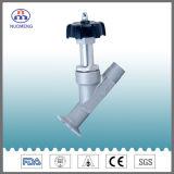 Válvula de asiento de ángulo soldada manualmente de acero inoxidable sanitario