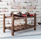 2 Tier 10 Botella Independiente Clásica de vino de madera Display
