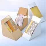 Contenitore piegante bianco di carta comune della scheda del commestibile con il pacchetto della maniglia