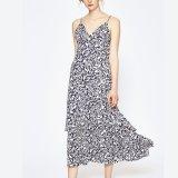 Платье выскальзования пляжа отдыха женщин способа напечатанное V-Шеей Backless