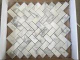 Natural de piedra de mármol blanco Mosaico, Mosaico de chapa de madera