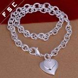 Het in het groot Zilver Van uitstekende kwaliteit van de Vorm van het Hart plateerde de Unisex-Halsband van de Tegenhanger