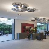 Lámpara de lujo moderna del techo de la dimensión de una variable del guijarro de las gotitas del metal LED para la decoración del hotel
