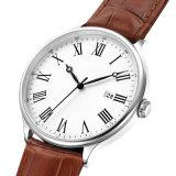 カーブGlass72874が付いているデザイナー人のステンレス鋼の水晶腕時計