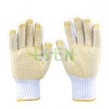 Белые связанные перчатки хлопка работы техники безопасности на производстве многоточий PVC (D16-H2)