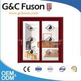 Portello scorrevole di alluminio caldo di vetro Tempered del doppio del venditore del Guangdong Woodwin (FX-17004)