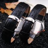 Quartz Black Leather Band Pair Relógios para Lover