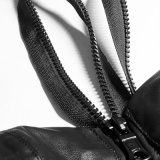 [ب-198] نمط أسود مثيرة نساء أسود يربط سحاب فوق جلد صديرية