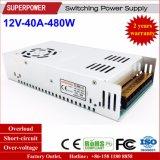 fuente de alimentación de la conmutación de 12V 40A 480W para la supervisión de seguridad