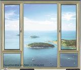 Finestra di alluminio di vetro personalizzata della stoffa per tendine del doppio di legno di colore