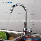 Singolo foro della maniglia della cucina di Hot&Cold del miscelatore del rubinetto del colpetto del bicromato di potassio d'ottone moderno del dispersore