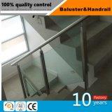 Acero inoxidable de la fabricación confiable de la fábrica con la barandilla de cristal de la escalera