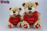 Valentine Ours en peluche avec coeur rouge oreiller et patte de broderie