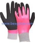 Двойная Coated перчатка латекса, полная задняя часть, перчатки отделки Sandy