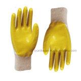 10 Индикатор желтого цвета фланелевая половина латексные перчатки с покрытием
