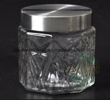 Vaso di vetro dell'alimento di nuovo stile con il coperchio del metallo